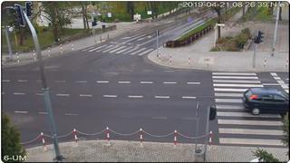 Wejście do Parku Miejskiego - widok z budynku Urzędu Miasta Tomaszów Lubelski
